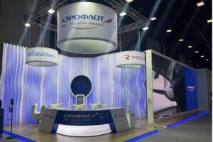 Aeroflot exhibition stand on Saint Petersburg Economic constructed by ExpoGlobal Group, June, 2021, Russia.